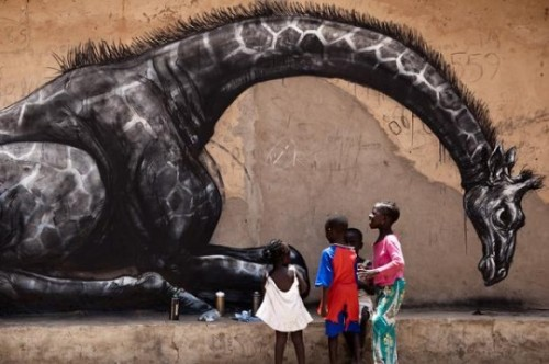 Graffiti artist,ROA in Gambia