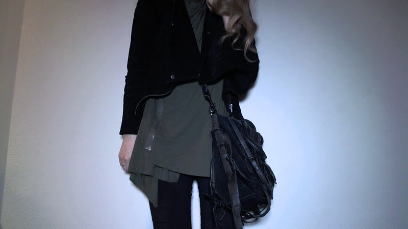 Quick outfit photo. Rick owens lillies top, black sheep fw 12 jacket, black pants, alexander wang bag, and my rick shark boots.