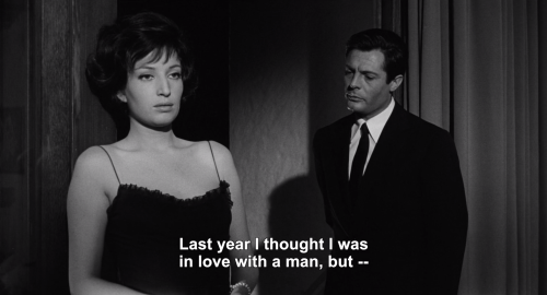 vintage-eternity:  La Notte (1961) dir. Michelangelo Antonioni #one of my favorite films ever #la notte#with queen#monica vitti #this quote is so personal #marcello mastroianni