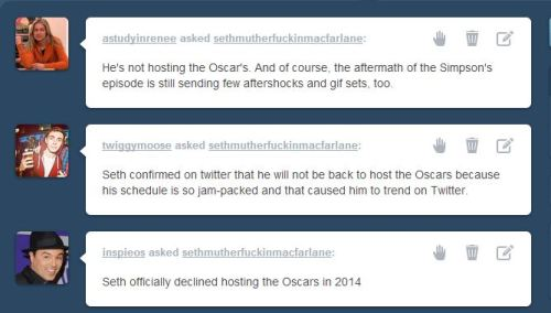 sethmutherfuckinmacfarlane:   Well, Oscars or not, 2014 is going to be huge for Mac! And if 2012 and this year so far has been any indication, this is a wild ride that I love being on. Thanks for playing, ladies.