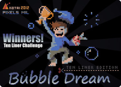 "We won the MRC Tenliner Challenge 2012! "" The goal of the contest was to let people make a game, demo or tool within the limit of only ten lines of Basic code "" Congrats to Kotai, the programmer."