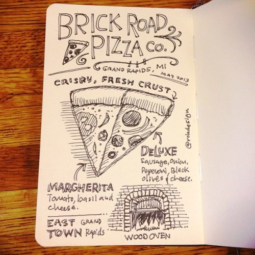 Brick Road Pizza Co. Sketchnote from Friday night w/ @jonahbailey and his family. (at Brick Road Pizza Co.)