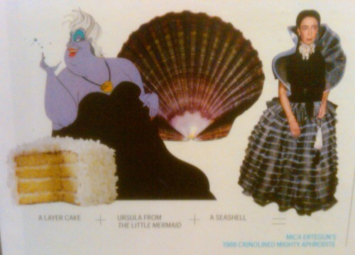 Layer cake + Ursula + seashell = Mica Ertegun's gown
