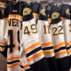 nhlbruins:  Jerseys waiting to be hung in the Bruins locker room before tonight's tilt in Pittsburgh #nhlbruins
