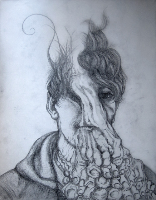 Felon Sean Hopp, 2013  (in progress) Pencil on canvasThis drawing is what happens when I have the flu for a week…