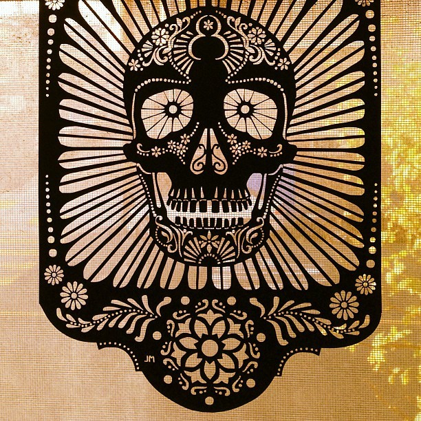 Día de los muertos papel picado. Got this beauty at last years Maker Fair. #skull #papelpicado #diadelosmuertos #calavera #dayofthedead #makerfair #art #crafts