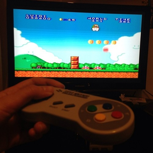 #mario #fun #friend #nofilter #nintendo #snes #game #geek #retro #old game as old as i am ^^ still loads of fun!!