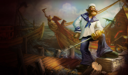 """ Sailor Gangplank ""  …  Splash art from 'League of Legends' video game"