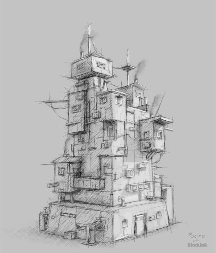 Tower sketch by Benoit Onillon