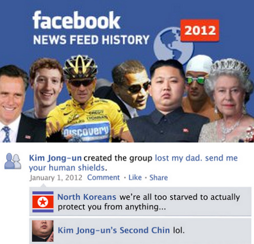 Facebook News Feed HIstory of 2012 The only way people can really review the past year.