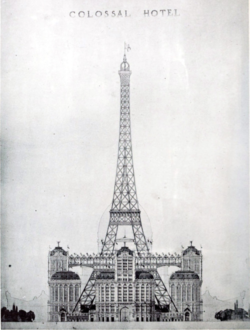 archimaps:  Design proposal to turn the Eiffel Tower into a colossal hotel for the 1900 World's Fair, Paris