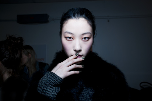theresejoel:  Prabal Gurung, Feb. 9 — Beauty detail, backstage before the show. Therese + Joel for TIME