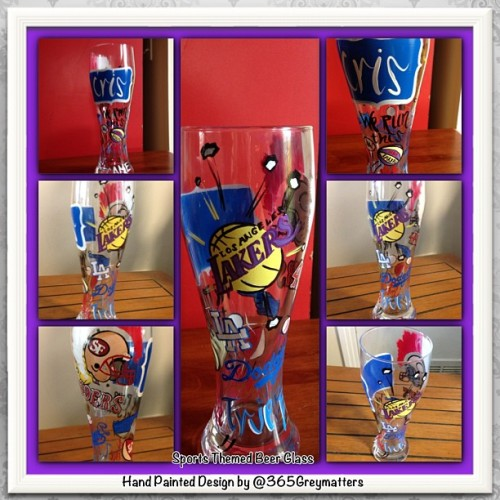 Sports Themed Customized Pilsner Beer Glass! Hand Painted & Designed by @365Greymatters #Sports #LA #Lakers #Dodgers #49'ers #art #customgifts #instagood #Baseball #Basketball #beerlovers #handpainted