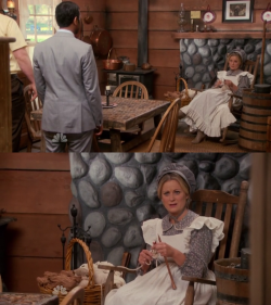 Leslie knits as part of a wager to live according to Pawnee's old laws.