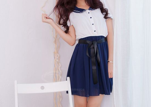 sense-and-fashion:  Doll Collar Chiffon Preppy Style Dress