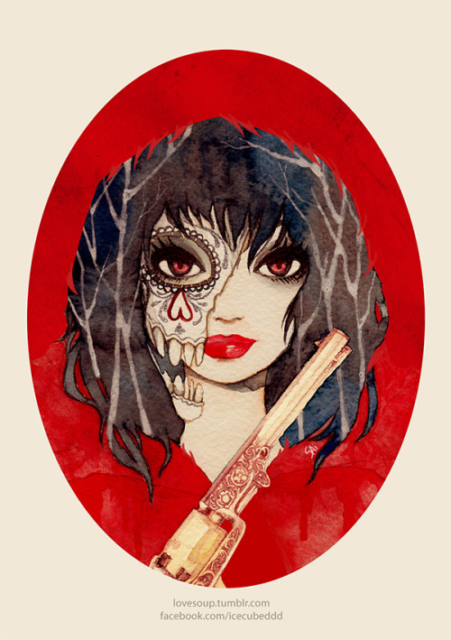 lovesoup:  Red Riding HoodWatercolour, ink, digital! Red Riding Hood makes a living from hunting wolfs and selling their fur for a good price. She wears their skull and fur to hide her own scent while hunting. Fairy Tales series:Snow White |  Gretel | Sleeping Beauty | Rapunzel | Red Riding Hood
