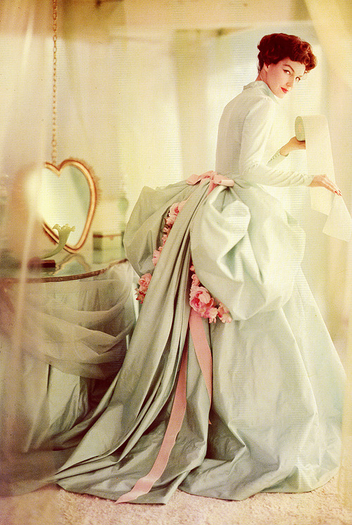 Joanna McCormick in a designer ball gown, photo by Horst P. Horst, 1958