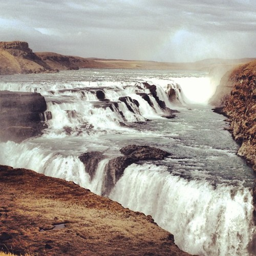 Gullfoss waterfall, this picture doesn't even do it justice! Incredible sight! (at Gullfoss Waterfall)