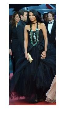 Michelle Thrush in Denise Brillon design on Cannes red carpet