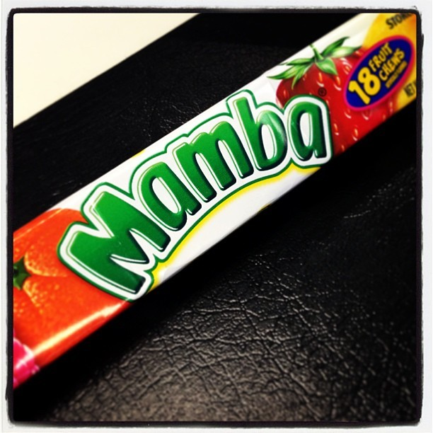 A friend of mine recommended I try #Mamba #fruit chews.  She says it's like #Starburst only better.  We'll see about that.  #candy #childhood