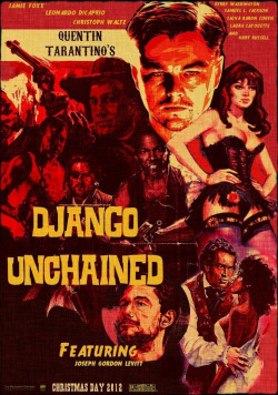 "(I do not own this image)          Django Unchained – written and directed by the award winning Quentin Tarantino. This violent but brilliant western revenge story left me feeling a little sick but super happy for Django! Throughout most of the film it was based around the humorous double act Django (Jamie Foxx) and Dr. King Schultz (Christoph Waltz) it was set among the slave plantation a dark pre-civil war America.    Jamie Foxx played a slave in 1858 called Django, walking in the cold night with only a dirty throw over his shoulders and an old pair of trousers. Soon a mysterious white man comes along called Dr. King Schultz, he speaks in an elaborate code with an eccentric attitude played by Christoph Waltz. They grow to become this double act, both going around killing deviant individuals for money. – Bounty hunters. I personally really enjoyed the film, I thought the soundtrack was beautiful and the cinematography was just incredible! However the Doctor gave Django a taste of freedom ""riding a horse like a white man"". Of course this is a fictional story and slaves were treated a lot worse then. That didn't come across in the film nonetheless I understand it was a spaghetti western with a bit of humour, it wasn't a political film. To an extent it was a love story too because Django wanted to free his wife, he wasn't out there to save every black person unfortunately.    This plays on him being free, I think Django became free when he set Broomhilde free; his heart wasn't free until she was free and when he took revenge on her oppressors. Therefore his soul will never be unchained if she isn't free. Which is a beautiful thing and in all the film was lovely including all the blood and shooting, the edits were amazing!    I personally believe it was PG rated compared to what really happened but I understand the audience would probably be traumatized by it however I think it would have been interesting to go that that extreme. At the end of the day the protagonist in this film was Django a free black man who fought the antagonists who were the racist white men. Tarantino did say he 'wanted to give African American's a hero' so he did and a fictional hero he is.    Oh yes! Leonardo DiCaprio in the film as Mr Candie, well didn't you just feel sick? I hated his character; he was so horrible and brutal. But I think he played Mr Candie amazingly because I hate the character so it's a good thing! As well as Samuel L Jackson as Stephen, he was such a house black guy, I really disliked the character but I felt sorry for him too especially because he couldn't see what his own people were going through. It was quite upsetting and I really hoped he'd change but he was still bitter even when he was dying. Overall 9/10"