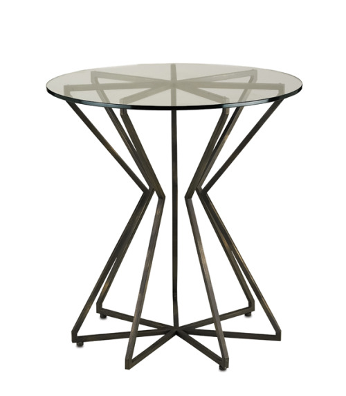 Charbon side table, wrought iron and glass, from Currey & Company.
