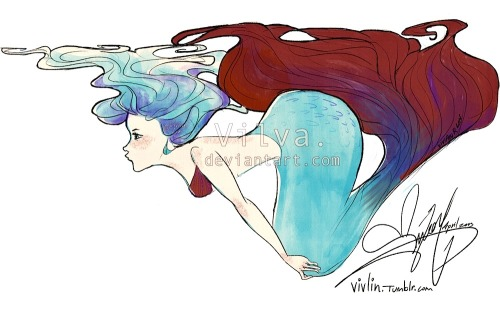 vivlin:  A betta fish mermaid! Based off this little guy in particular.  Thanks to eostheeternaldawn for the suggestion!
