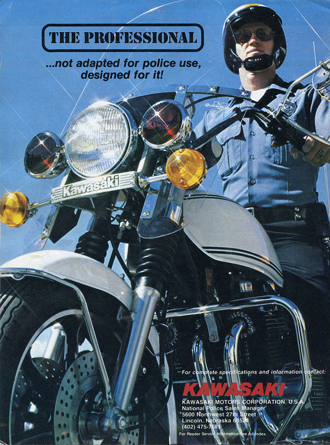 diesuscarspotting:   Vintage Kawasaki Police Motorcycle Advertisment - June 1979_img591 by Wampa-One on Flickr.