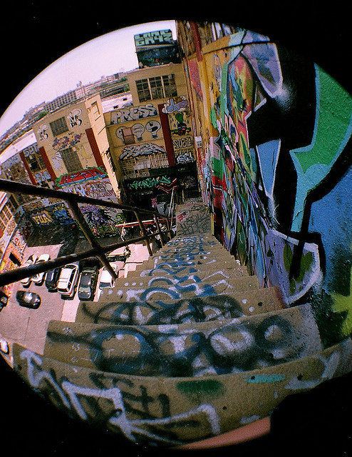 brutalgeneration:  5pointz stairs … (rip) by arieℓℓito on Flickr.