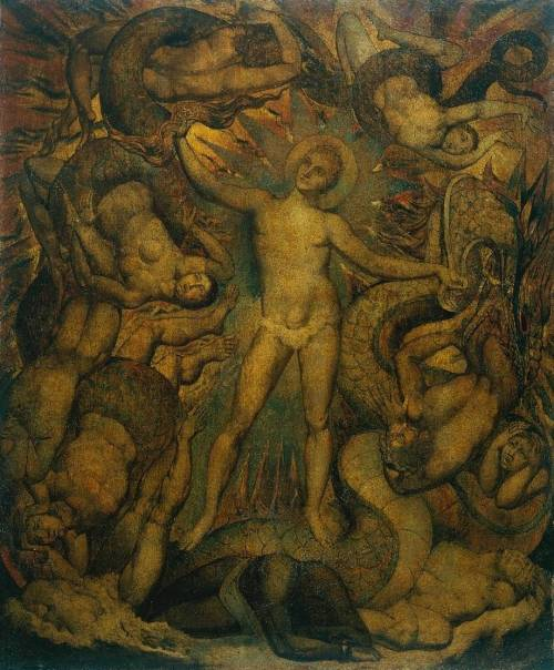 William Blake, The Spiritual Form of Nelson Guiding Leviathan, c. 1805-9 (via mbelt)