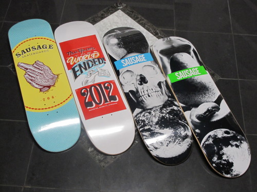 "grandeuroceanside:  ""Welcome Sausage Skateboards to Grandeur.  Dope small, core, creative little brand out of Seattle by some OG's.  Support it and look them up if you don't know anything about it yet… ""  Sausage now available at Grandeur, a rad shop in Oceanside, Ca"