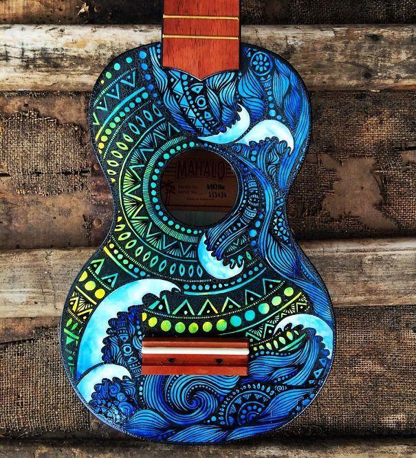 Los coloridos diseños de guitarras de Salty Hippie Art 5