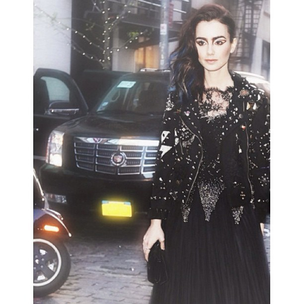 Lily Collins at the MET in Moschino #RandM