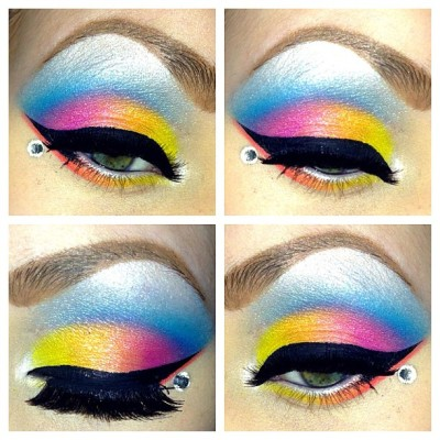 I'm actually really happy with this! 🍭 #makeup #colorful #eyeshadow #rainbow #iphone5camera