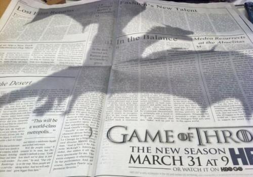 Ad in The New York Times …. Game of thrones