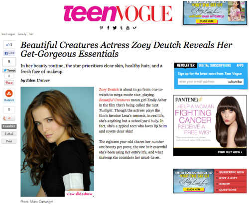 My portrait of Zoey Deutch for Teen VOGUE!