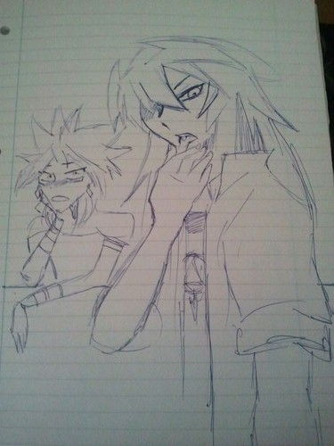 michelleclairewilliams:  Sexy Bakura, poor Marik ;) Just trying my hand at some sketches ^_^