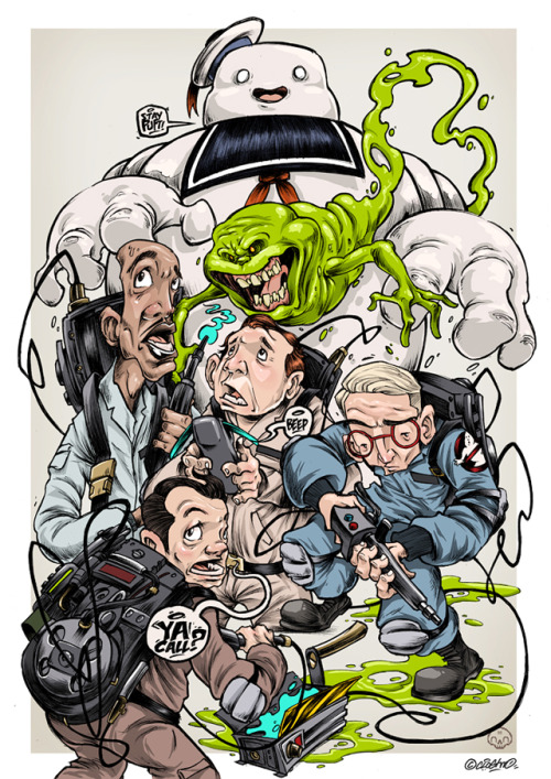 laughingsquid:  Stylized Illustration Featuring Ghostbusters Characters by Clogtwo
