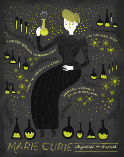Illustration women History lab science chemistry feminism women in history discover physics Atom radiation bio atoms Chemical Scientific Illustration Chemist scientist marie curie radium chem beakers physicist illustration on tumblr historic women polonium elemtns mariecurie 20th centery 4thwavefeminism