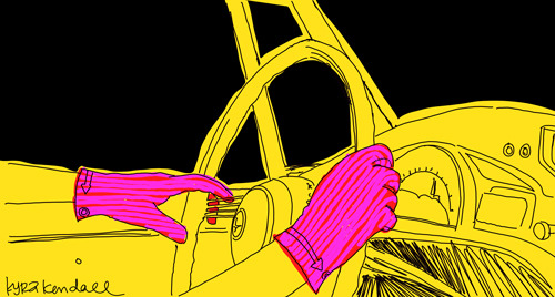 driving a yellow convertible in the middle of the night with hot pink gloves.
