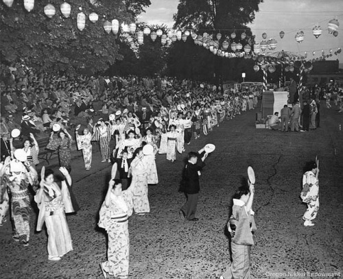 Obon in Portland Frank Hirahara took this photo of odori dancing at an Obon festival, circa 1948-54. Members of the Oregon Buddhist Church and others in the Nikkei community performed bon odori in a number of places over the years, including Washington Park and the North Park Blocks in downtown Portland. This photo may have been taken at Holladay Park in Portland.