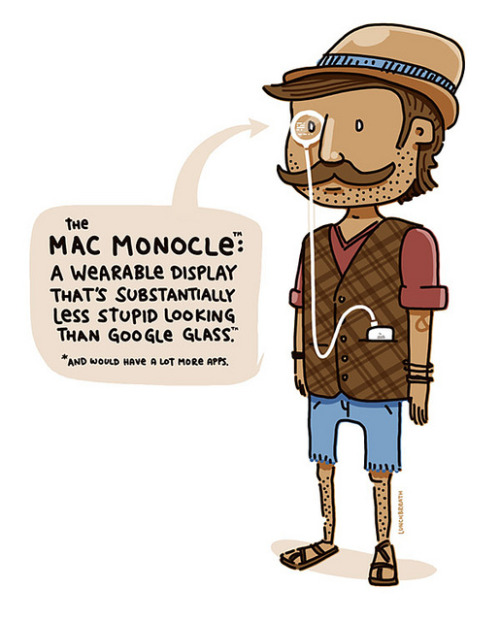 laughingsquid:  Mac Monocle, Conceptual Illustration of a 'Less Stupid Looking' Version of Google Glass