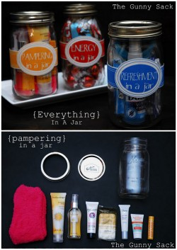 truebluemeandyou:  DIY Everything in a Jar Lists and Printables from The Gunny Sack here. You can also download blank labels so you can make your own unique gift jar. The Gunny Sack also has additional suggestions for gift jars: Energy in a Jar Refreshment in a Jar Tide Me Over Jar First Aid Jar S'Mores in a Jar Relaxation Jar Sewing in a Jar Spa in a Jar (look for link at the bottom)
