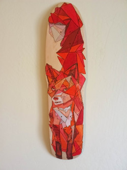 eatsleepdraw:  Fox Skateboard by Matthew Paris Acrylic + Pyrography