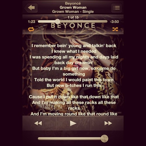 Omg this song has been on REPEAT! @beyonce love it so much! Can't wait until the iTunes one is released 😁 I'M A GROWWN WOMAN!! DO WHATEVER I WANT 😘 #grownwoman #beyonce #bey #single #mrscarter #dance #music #love #racks