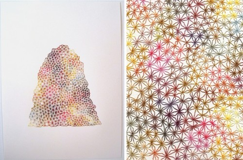 EMILY BARLETTA Brooklyn-based fiber artist Emily Barletta has us looking twice at her organically inspired pieces. At first glance we thought they were mere drawings, but each delicate line is actually thread, which makes us love it twice as much. Her careful use of color and composition weave textures that feel natural and inspiring - now if we could only see it in person!