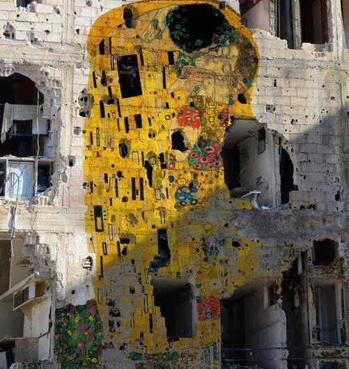 "diversionsatwork:  Gustav Klimt's ""The Kiss"" reproduced on a devastated building in Syria by artist Tammam Azzam. Breathtaking for so many reasons."