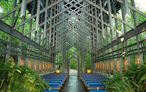 "© Thorncrown Chapel ""An odd set of corporate, municipal and grassroots bedfellows has coalesced in Northwest Arkansas around opposition to a proposed Southwestern Electric Power Co. power-line project that critics say could encroach on some of the most scenic places in the Ozarks. The proposed project would push through a 150-foot-wide cleared right-of-way studded with 150-foot-tall electrical transmission towers. One route for the project would bring the power lines within 1,000 feet of the iconic Thorncrown Chapel in the woods near Eureka Springs."" via Arkansas' Thorncrown Chapel under threat from energy company"
