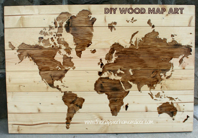 niftyncrafty:  DIY Wood Map Art | The Happier Homemaker