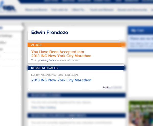 I'm IN…. 2013 ING New York City Marathon.  Hurricane Sandy redemption run!